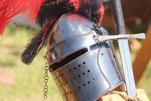 Helm, Sword, Knight, Middle Ages, Armor, Warrior