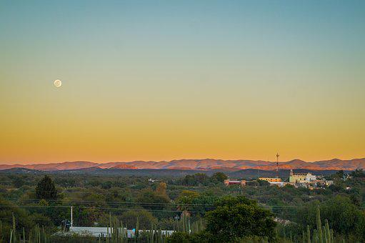 Landscape, Sunset, Moon, Sky, Nature, Light, Mountain