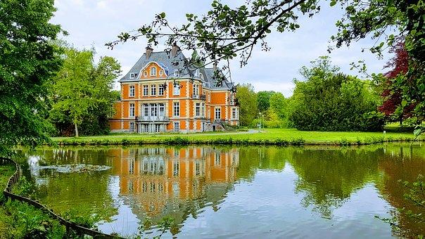 Castle, Garden, Water, Belgium, Pellenberg, Park, Pond