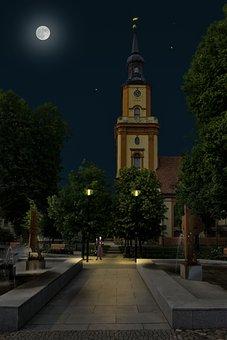 Church, Night, Moon, Pastor, Light, Architecture