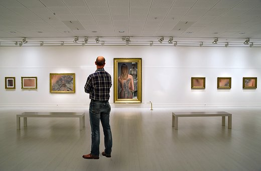Art Gallery, Museum, Man Standing, Picture Frame
