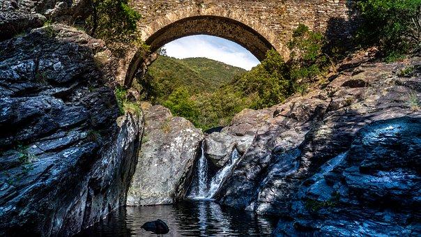 Ardeche, River, Bridge, Rock, France, Water, Vacations