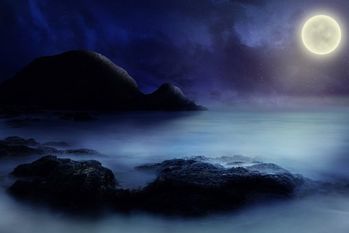 Sea, Rock, Moon, Starry Sky, Fantasy, Lighting