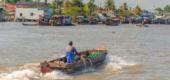 Wave, Vietnam, Floating Market, Ship, The Boat