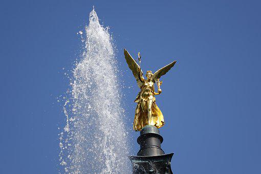 Angel Of Peace, Munich, Bavaria, Sky, Architecture