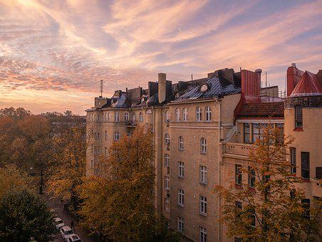Sunrise, Fall, Autumn, Old Building, Historic, Morning