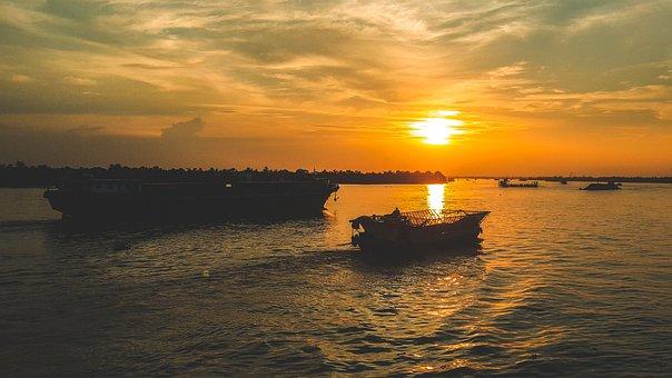 River, Dimensional Landscapes, Sunshine, Vietnam, Ship