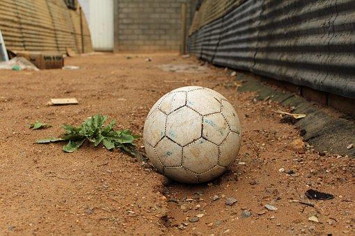 Old, Soccer, Ball, Abandoned, Refugee, Camp