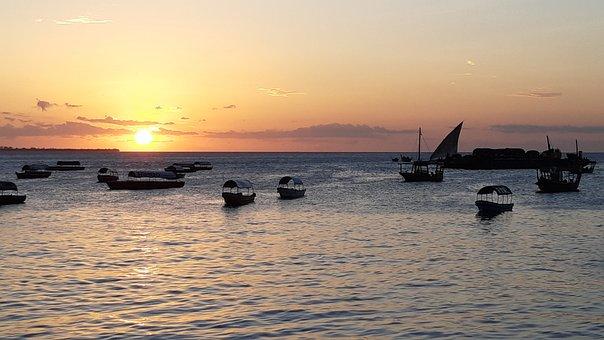 Zanzibar, Tanzania, Africa, Sunset, Boats