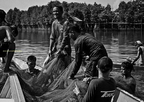 Fish, Fishermen, Landscape, Boat, Sea, Pangasinan