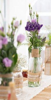 Flower, Deco, Wedding, Vase, Decoration, Wood, Rose