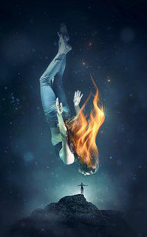 Book Cover, Fantasy, Woman, Water, Fire, Flame, Diving