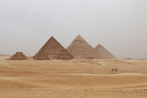 Egypt, Pyramids, Sand, Desert, Landscape, Antiquity