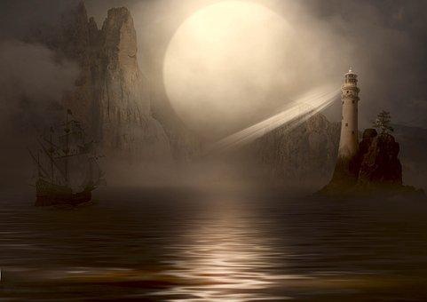 Fantasy, Sea, Ship, Lighthouse, Moon, Landscape, Nature