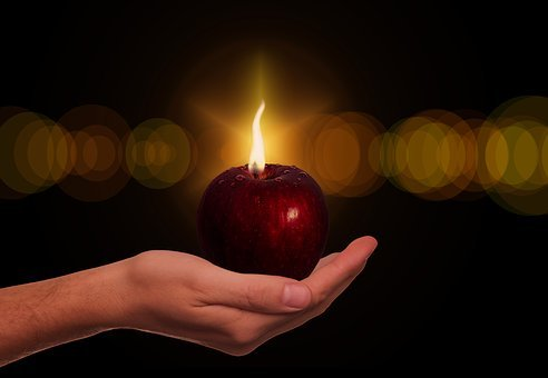 Apple, Hand, Candle, Fruit, Forbidden Fruit