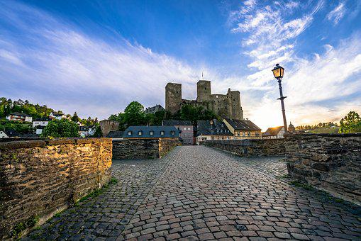 Runkel, Castle, Hesse, The Lahn Valley, Sunset, Germany