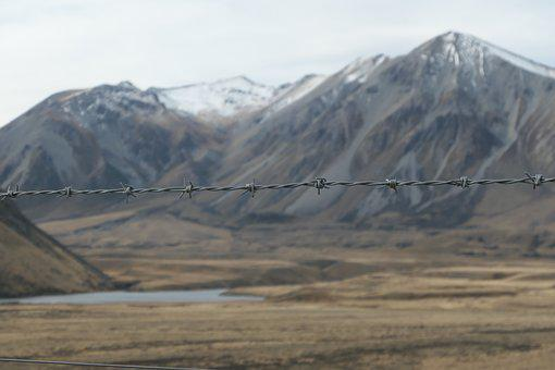 Barbed Wire, New Zealand, Mountain, Lake, Focus, Blur