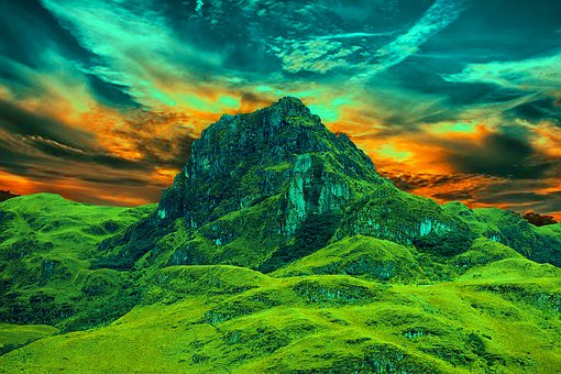 Mountain, The Boxes Basin, Basin, Blue, Landscape