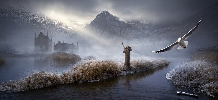 Fantasy, Landscape, Castle, Mountains, Lake, Fog, Light