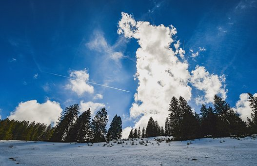 Sky, Clouds, Landscape, Forest, Snow, Panorama