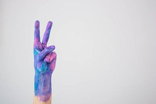 Watercolor, Blue, Violet, Peace, Peace Sign
