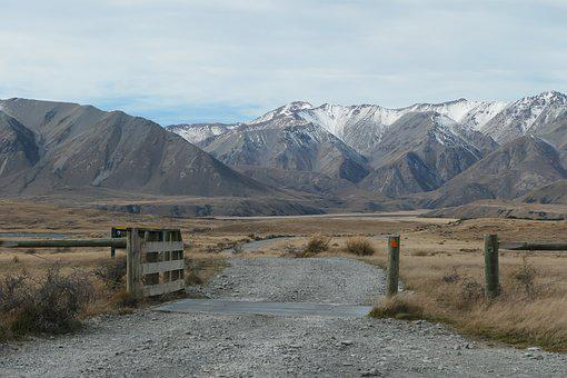 New Zealand, Road, Gravel, Road Trip, Mountain, Gate