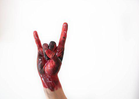 Rock And Roll, Red, Hand, Watercolor, Artistically