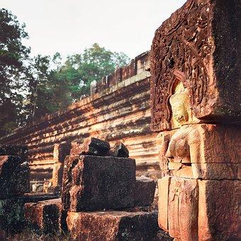Angkor Wat, Statue, Architecture, Cambodia, Stone