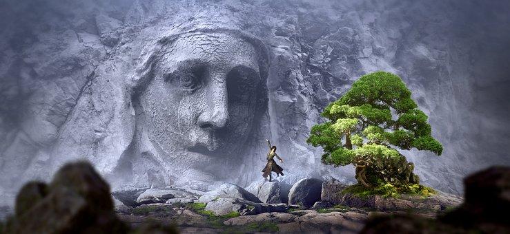 Fantasy, Face, Rock, Tree, Woman, Dance, Landscape
