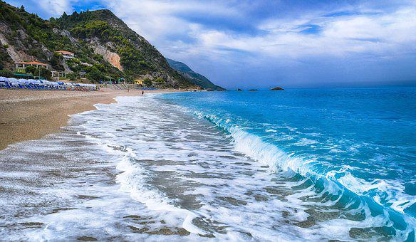 Waves, Greece, Lefkas, Kathisma, Beach, Sea, Water
