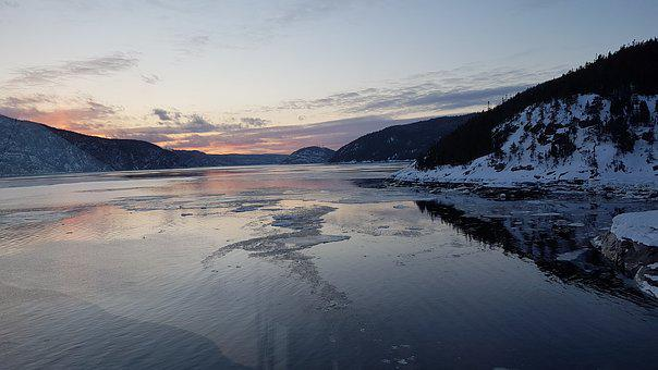 Tadoussac, Fjord, Water, Night, Winter, Ice, Landscape