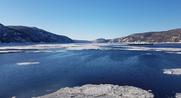 Tadoussac, Fjord, Water, Winter, Ice, Landscape, Cold