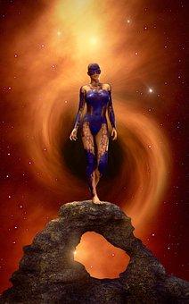 Book Cover, Fantasy, Woman, Rock, Star, Light, Mystical