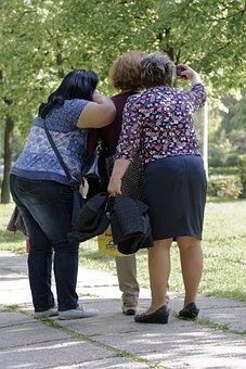 Three, Women, Fat, Taking Pictures Of It, Selfie, Park