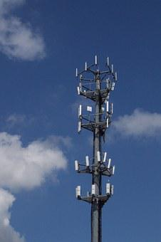 Cell Tower, Sky, Clouds, Technology, Antenna