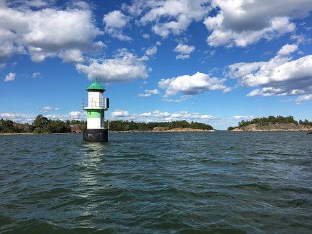 Lighthouse, Sea, Archipelago, Water, Cloud, Summer