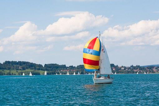 Ship, Sailing Vessel, Boot, Sail, Colorful, Yellow, Red