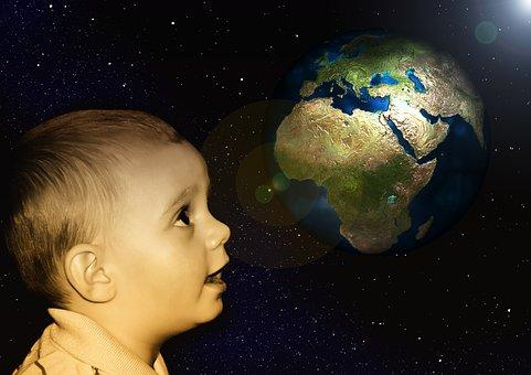 Children, Baby, Boy, View, Look, Marvel, Earth, Globe