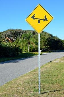 Children At Play, Sign, Warning, Child, Playing, Symbol