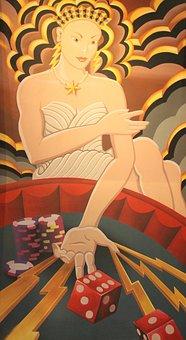 Gambling, Mural, Dice, Las Vegas, Lady, Game, Casino