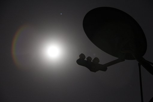 Satellite, Dish, Night, Moon, Technology, Antenna