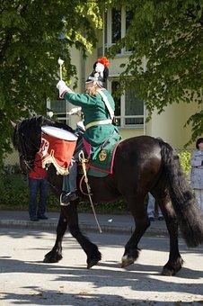 Drum, Drummer, Beritten, Horse, Guard, Soldier, Leader