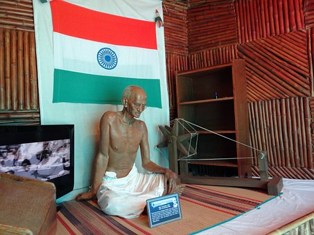 Gandhi, Statue, Spinning Wheel, Leader, Mahatma
