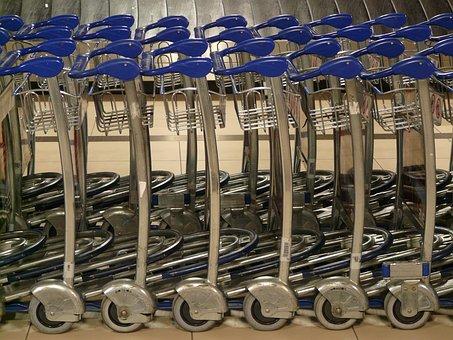 Baggage Car, Gepaecktrolley, Trolley, Handle, Blue