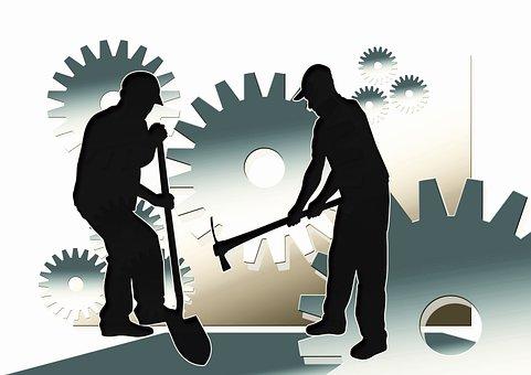 Work, Workers, Men, Face, Silhouette, Hands, Gear