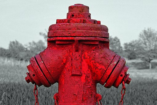 Hydrant, Black And White, Color, Red, Hdr Image