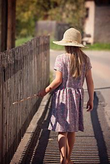 Person, Human, Child, Girl, Summer, Dress, Hat, Away