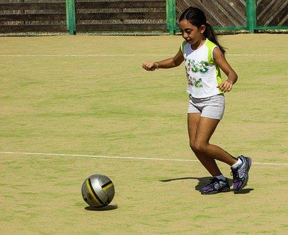 Girl, Playing, Child, Fun, Happy, Joy, Active, Football