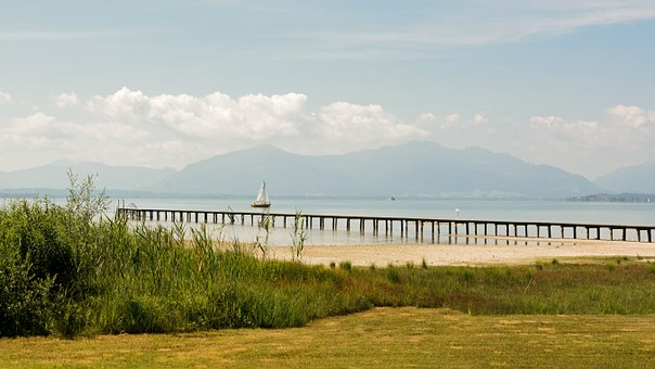 Lake, Chiemsee, Landscape, Mountains, Water, Sky, Ship