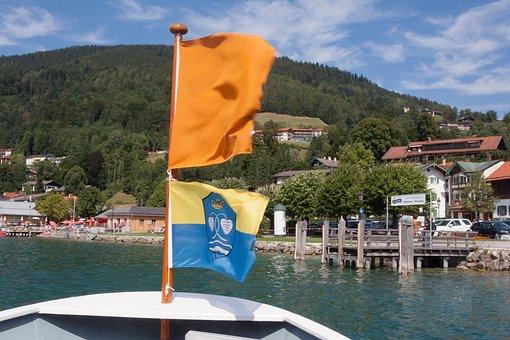 Ship, Ferry, Boot, Bug, Water, Lake, Flag, Orange